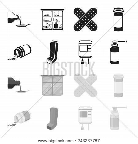 Tablets, Inhaler, Container With Blood, Spray.medicine Set Collection Icons In Black, Monochrome Sty