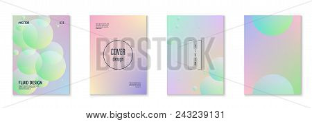Fluid Poster Set With Round Shapes. Gradient Circles On Holographic Background. Modern Hipster Templ
