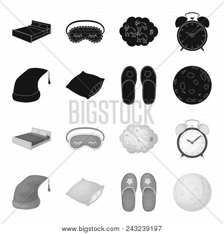 Night Cap, Pillow, Slippers, Moon. Rest And Sleep Set Collection Icons In Black, Monochrome Style Ve