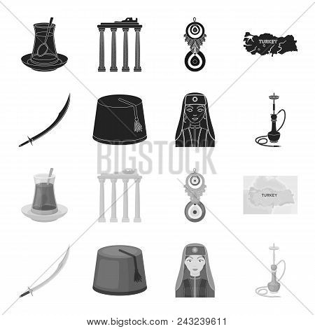 Turkish Fez, Yatogan, Turkish, Hookah.turkey Set Collection Icons In Black, Monochrome Style Vector