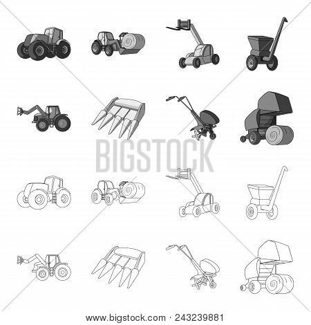 Motoblock And Other Agricultural Devices. Agricultural Machinery Set Collection Icons In Outline, Mo