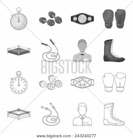 Ring, Rope, Referee, Sneakers Boxing Set Collection Icons In Outline, Monochrome Style Vector Symbol
