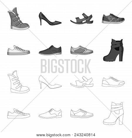 A Set Of Icons On A Variety Of Shoes.different Shoes Single Icon In Outline, Monochrome Style Vector