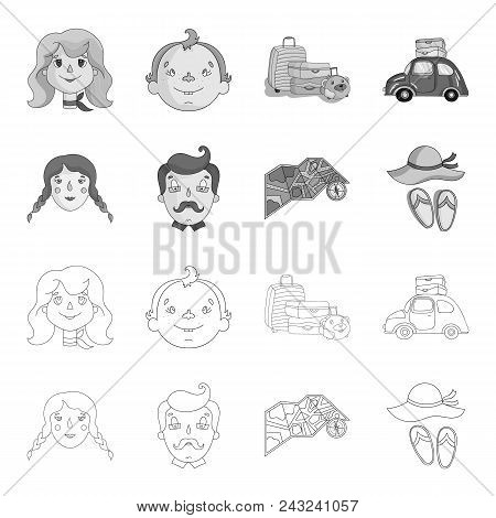 Travel, Vacation, Camping, Map .family Holiday Set Collection Icons In Outline, Monochrome Style Vec