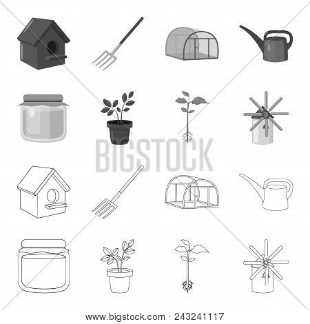 Honey Bank, Plant, Mill.farm Set Collection Icons In Outline, Monochrome Style Vector Symbol Stock I