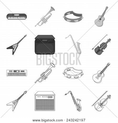 Electric Guitar, Loudspeaker, Saxophone, Violin.music Instruments Set Collection Icons In Outline, M
