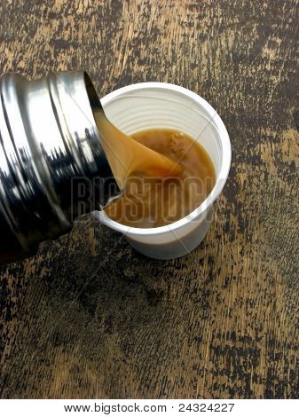 Coffee from thermos flask