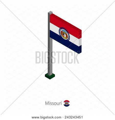 Delaware Us State Flag On Flagpole In Isometric Dimension. Isometric Blue Background. Vector Illustr