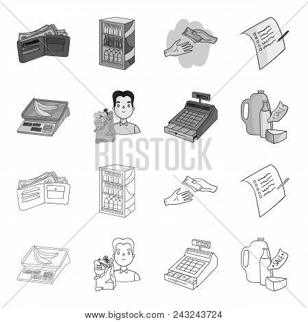 Package, Scales, Banana, Fruit .supermarket Set Collection Icons In Outline, Monochrome Style Vector