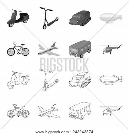 Bicycle, Airplane, Bus, Helicopter Types Of Transport. Transport Set Collection Icons In Outline, Mo