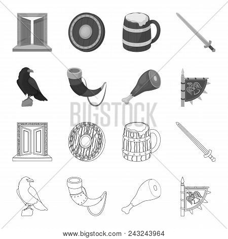 Sitting Crow, Horn With Drink, Ham, Victory Flag. Vikings Set Collection Icons In Outline, Monochrom