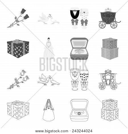 Wedding And Attributes Outline, Monochrome Icons In Set Collection For Design.newlyweds And Accessor