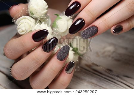 Closeup Of Woman Hands With Nail Design. Trendy Crackle Nail Polish. Manicure And Nail Tattoo Trend.