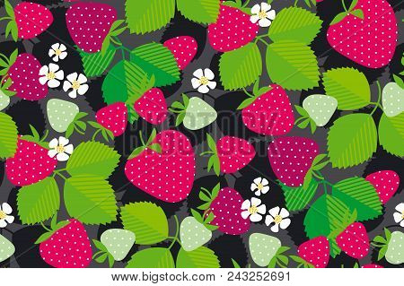 Simple Strawberry Seamless Pattern. Red Garden Berries In Rustic Style. Repeatable Motif In Red And