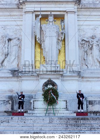Rome, Italy - January 1, 2017: Tomb Of The Unknown Soldier, Under The Statue Of Goddess Roma. The To