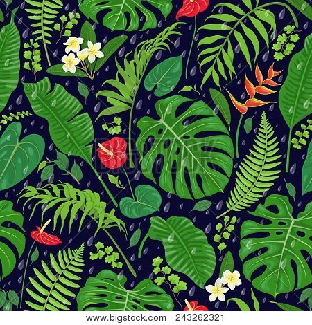 Seamless Pattern With Tropical Leaves, Flowers  And Falling Rain Drops On Dark Background. Tropic Ra