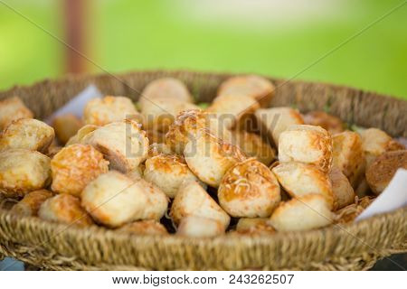 Delicious Traditional Hungarian Baked Snack With Cheese In Basket, Outdoor