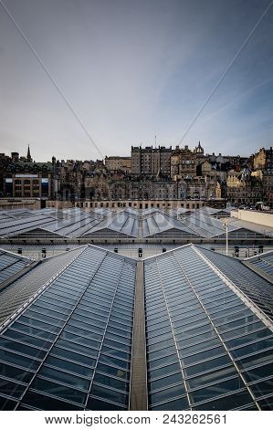 View Of Edinburghs Market Street As Seen From Waverly Station, With The Stations Glass Ceiling In Th