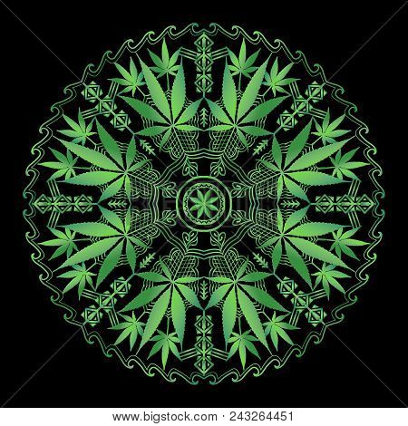 Cannabis Marijuana Intricate Mandala, Round Ornament In Green With Black Background.