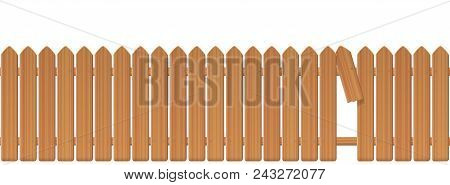 Wooden Picket Fence With Gap In The Fence. Palisade Or Stockade With Broken Plank And Loophole To Sl