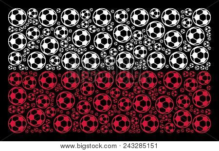 Poland National Flag Mosaic Done With Football Ball Pictograms. Flat Vector Football Ball Icons Are