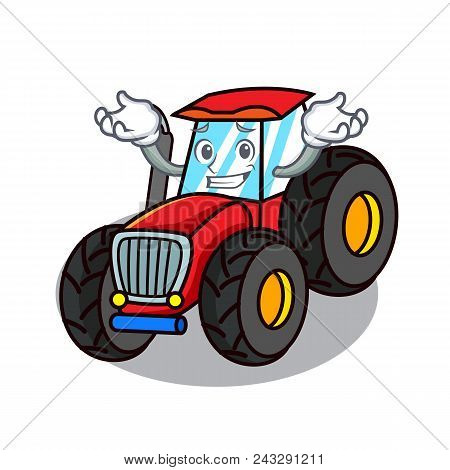 Grinning Tractor Character Cartoon Style Vector Illustration