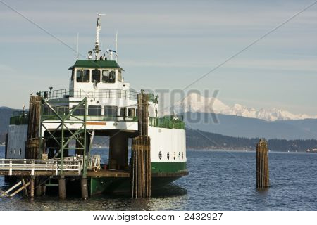 Ferry Boat And Mountain