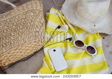 Straw Hat , Bag And Sunglases A  Summer Lifestyle. Bright Colors. Vacation Mood.