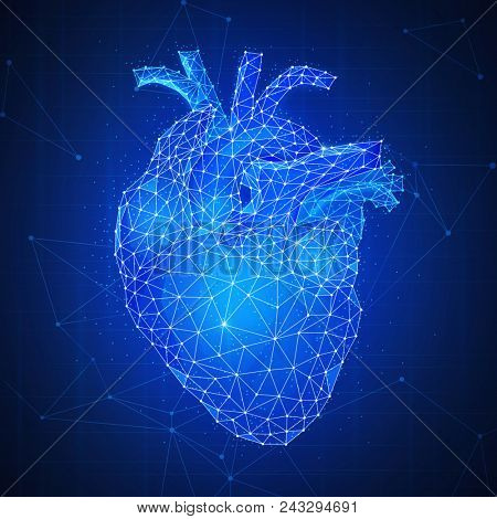Polygonal anatomic human's heart 3d with aorta and veins on peer to peer blockchain network technology background representing life and health care concept. Low poly design. Square layout.