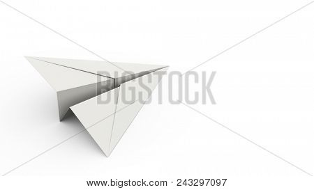 Paper Plane on White Background Concept Background with White Copy Space. Creative Minimal Business Background. 3D Illustration.