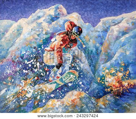 Girl Snowboarder Conquers Mountain Peaks. Author: Nikolay Sivenkov. Periodically In Winter I Go To T