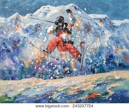 Artwork. Freestyle. Author: Nikolay Sivenkov. Periodically In Winter I Go To The Mountain Cluster Of