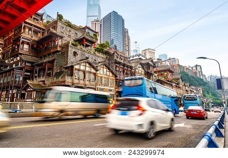 Chongqing, China Classical Architecture: Hongyadong Landmark Building.
