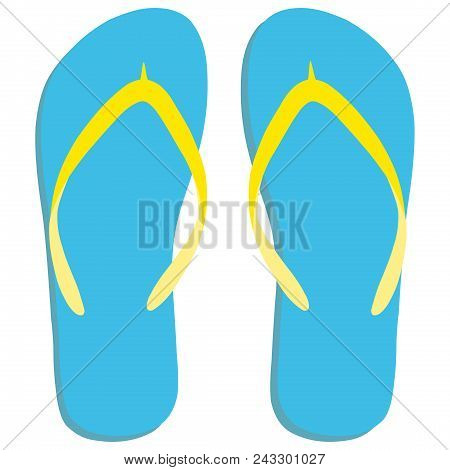 Colored Flipflops Icon. Slippers Icon. Isolated Blue, Yellow On White Background. Vector Illustratio