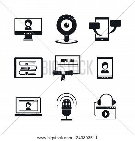 Webinar Training Online Learning Icons Set. Simple Illustration Of 9 Webinar Training Online Learnin