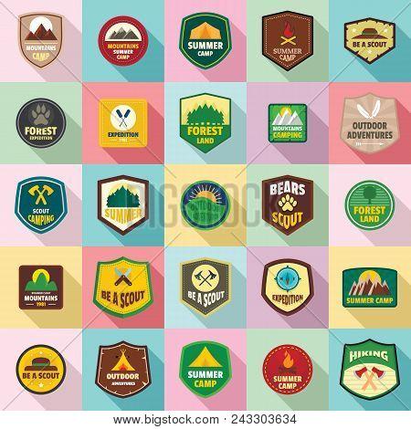 Scout Badge Emblem Stamp Icons Set. Flat Illustration Of 25 Scout Badge Emblem Stamp Vector Icons Fo