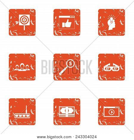 Cash Target Icons Set. Grunge Set Of 9 Cash Target Vector Icons For Web Isolated On White Background