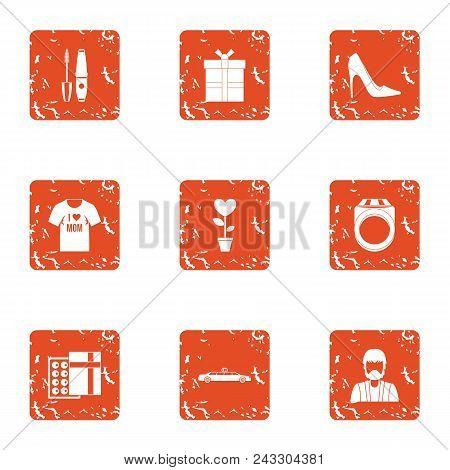 Lovemaking Icons Set. Grunge Set Of 9 Lovemaking Vector Icons For Web Isolated On White Background