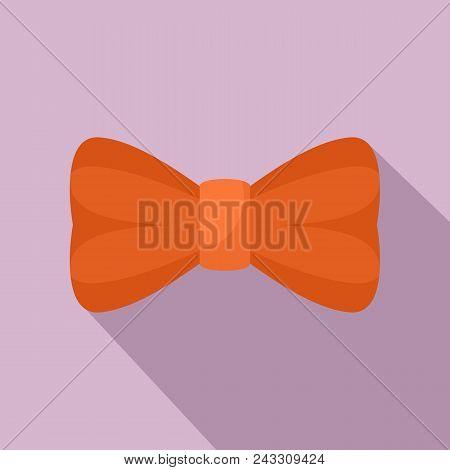 Orange Bow Tie Icon. Flat Illustration Of Orange Bow Tie Vector Icon For Web Design