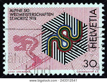 Switzerland - Circa 1973: A Stamp Printed In Switzerland Issued For The World Alpine Skiing Champion