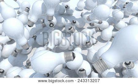 Many Light Bulb Fall On White Background, 3d Illustration