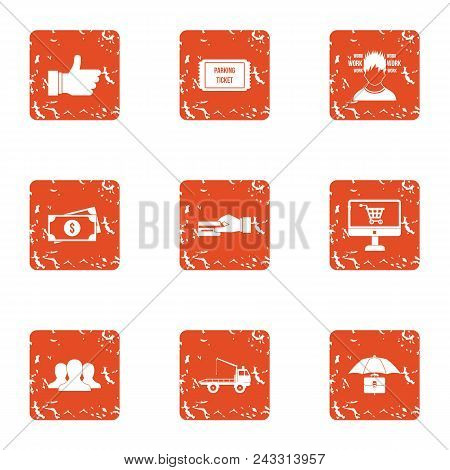 Prepare A Payment Icons Set. Grunge Set Of 9 Prepare A Payment Vector Icons For Web Isolated On Whit