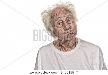 A very Funny old Senior man makes Funny faces