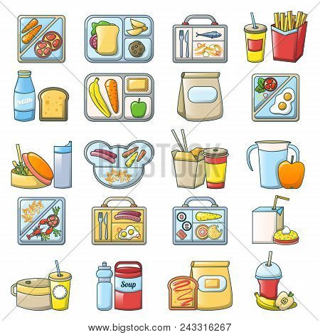 Lunch Break Lunch Food Icons Set. Cartoon Illustration Of 16 Lunch Break Lunch Food Vector Icons For