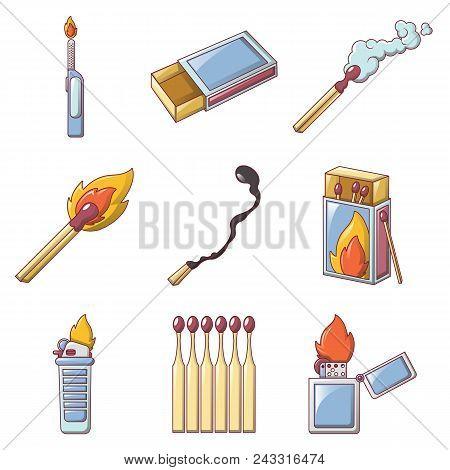 Safety Match Ignite Burn Icons Set. Cartoon Illustration Of 9 Safety Match Ignite Burn Vector Icons
