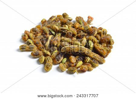 Dried Medicinal Herbs Raw Materials Isolated On White. Beens Of Styphnolobium Japonicum, Japanese Pa