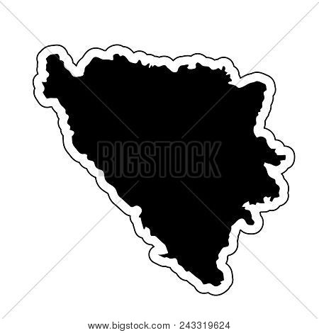 Black Silhouette Of The Country Bosnia And Herzegovina With The Contour Line Or Frame. Effect Of Sti