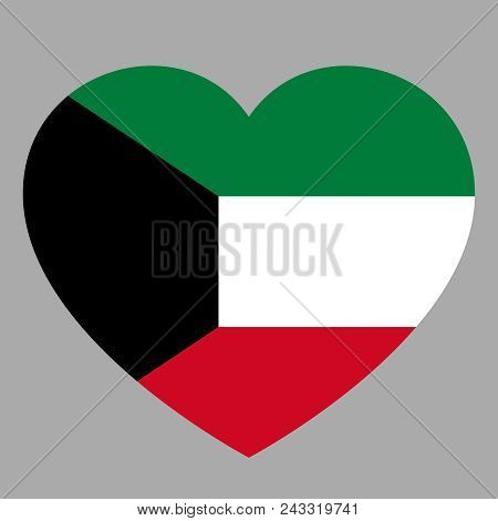 Icon Heart Symbol Of Love On The Background National Flag State Kuwait. Vector Illustration.