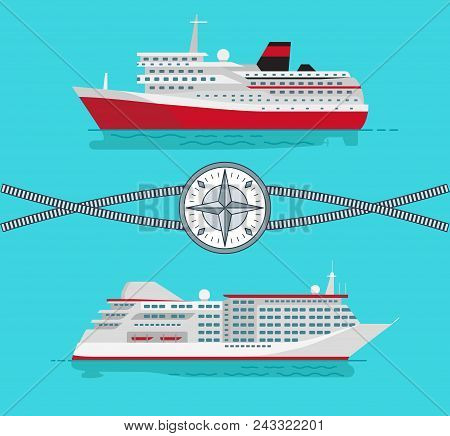 Ships And Long Ropes, With Compass At Centerpiece, Transports And Yachts, For Comfortable Trips And
