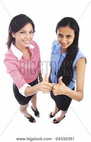 Happy Cheerful Indian And Caucasian Business Women.